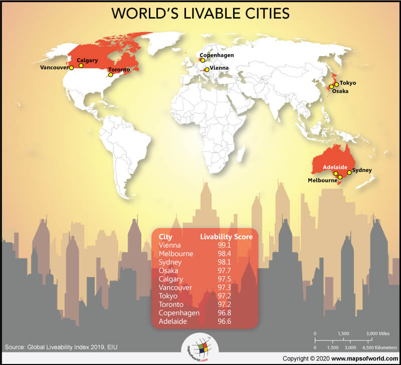 World Map Highlighting Top 10 Livable Cities