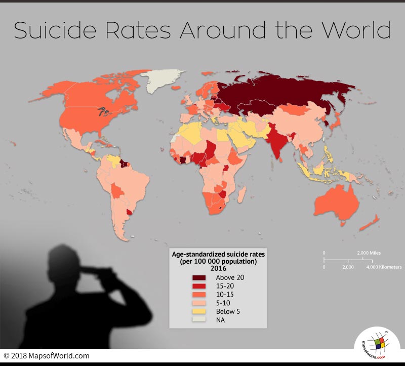 World Map depicting Suicide Rate in countries