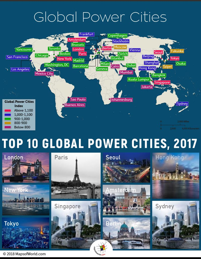 World map depicting Global Power Cities