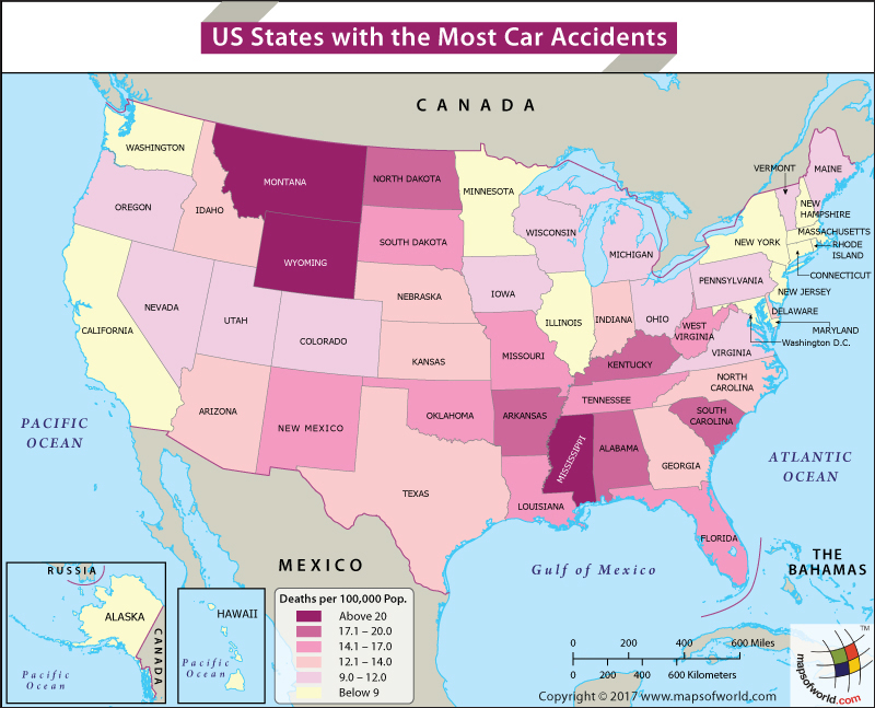 World map depicting Car accidents in US cities