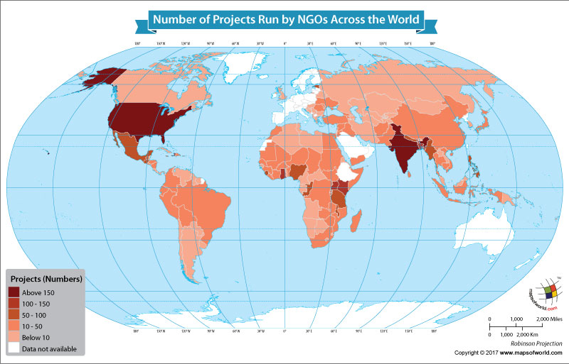 World map showing the distribution of NGOs around the world.