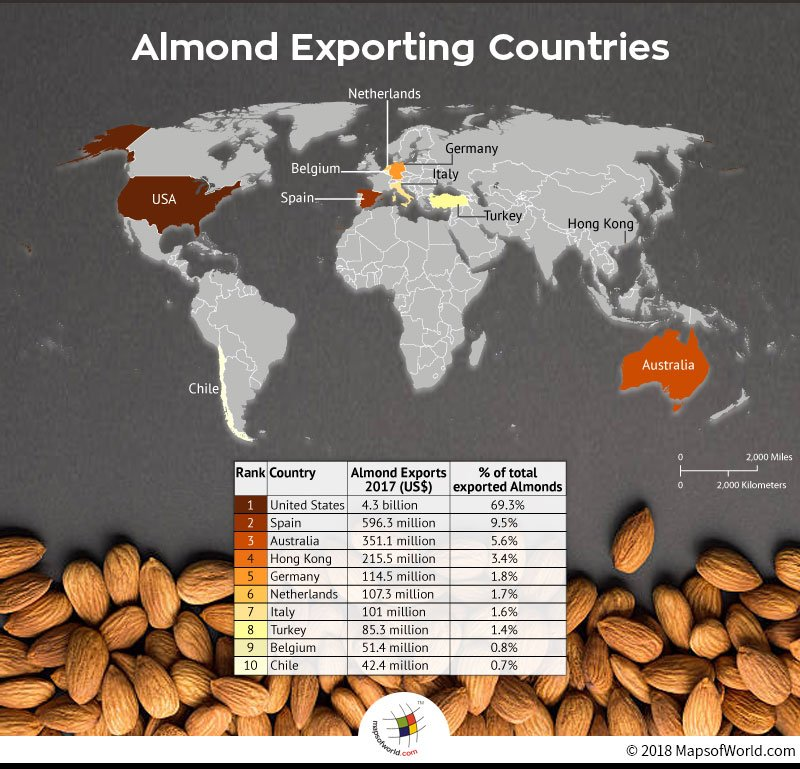 World map depicting top 10 almond exporting countries