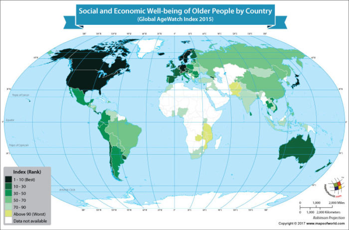 World map showing best and worst countries for old people to live in