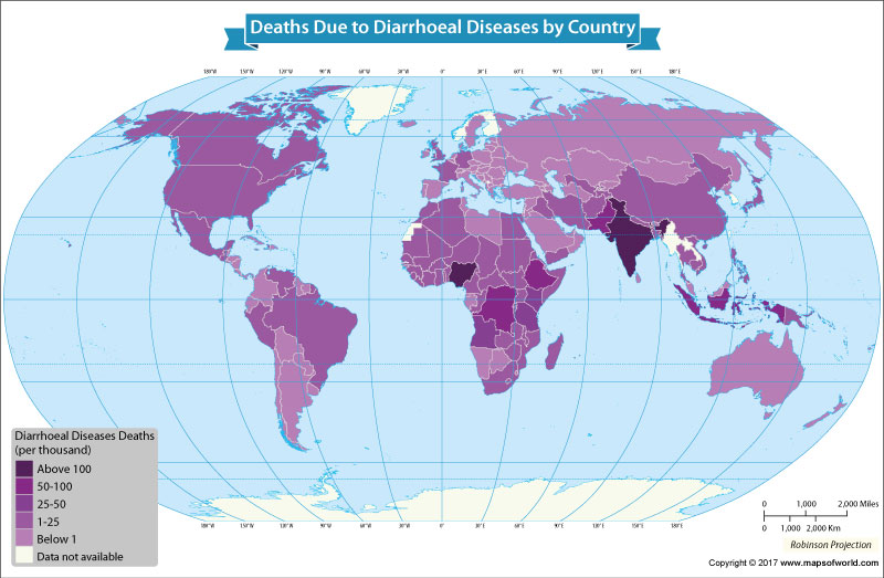 World map showing countries with death rates from diarrhoea