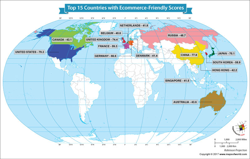 World map showing the top 15 e-commerce markets of the world