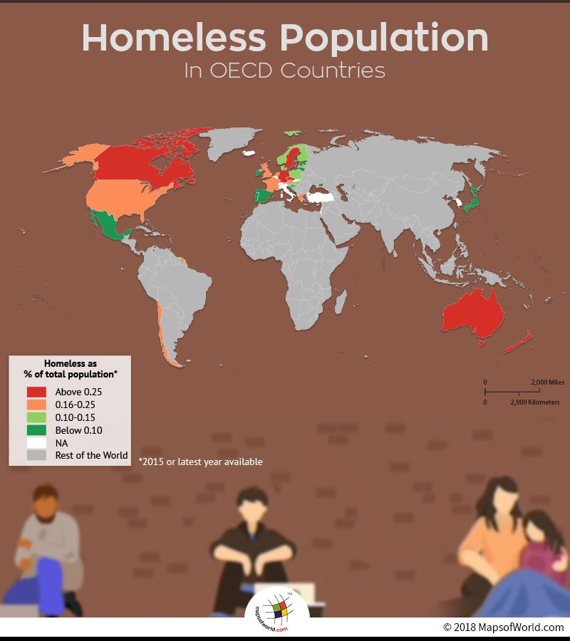 World map showing homeless population rates in OECD countries
