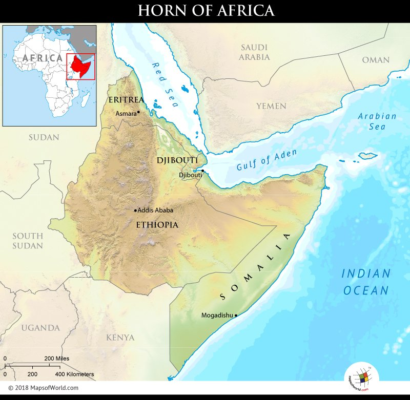 Horn Of Africa Map What region is called the Horn of Africa?   Answers