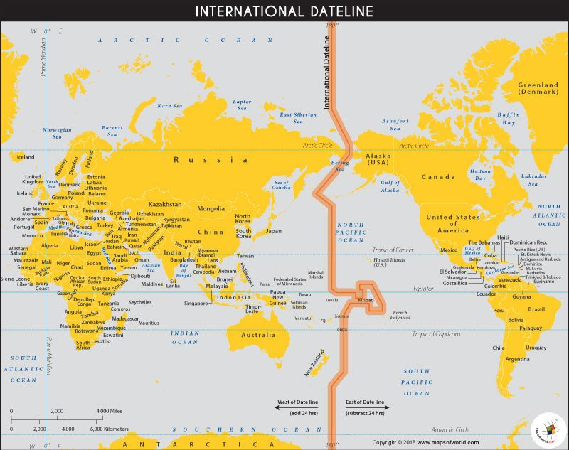 World Map showing the International Date Line   Answers