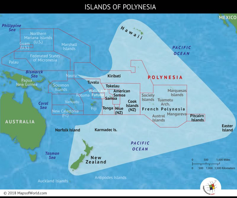Map depicting the region of Polynesia