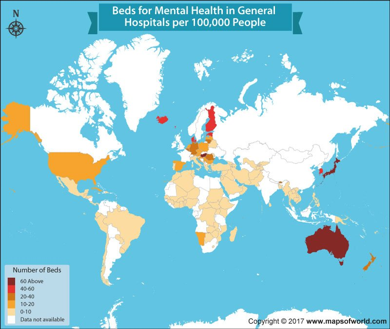 What countries have the most beds for mental health patients? - Answers