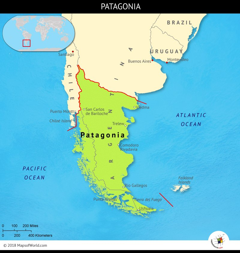 Map depicting the land of Patagonia
