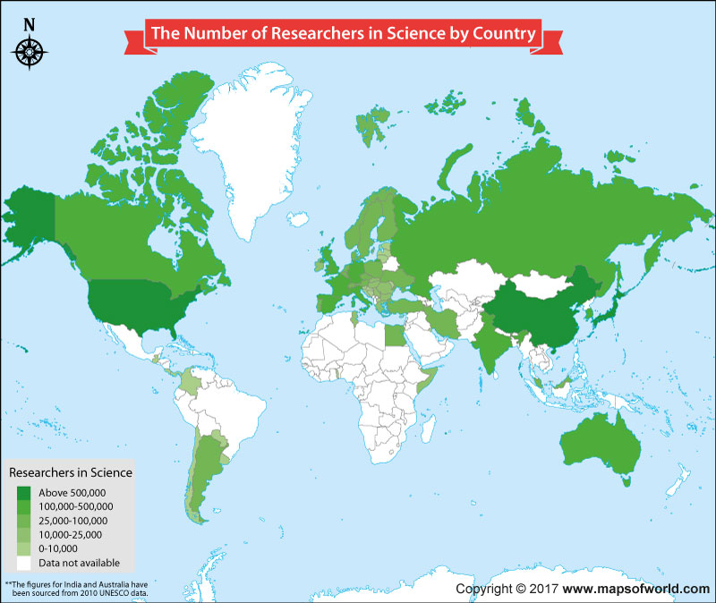 World map showing science researchers around the world
