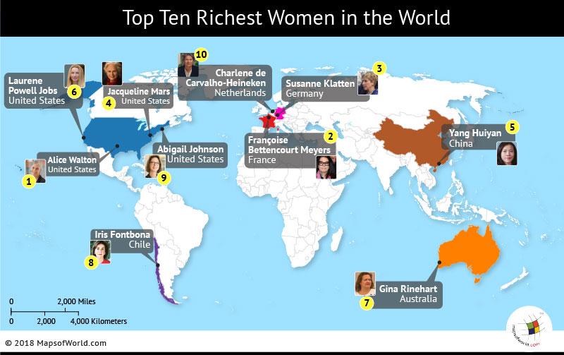World map depicting top ten richest women