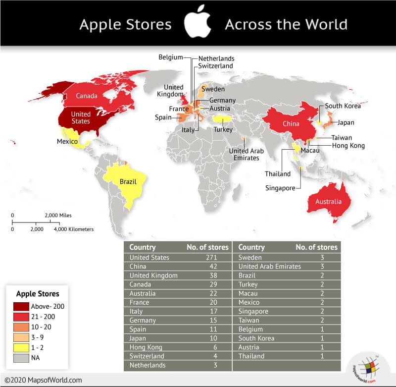 Map Showing Number of Apple Stores in Countries Across the World