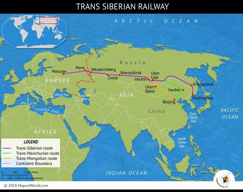 Map featuring the Trans-Siberian Railway