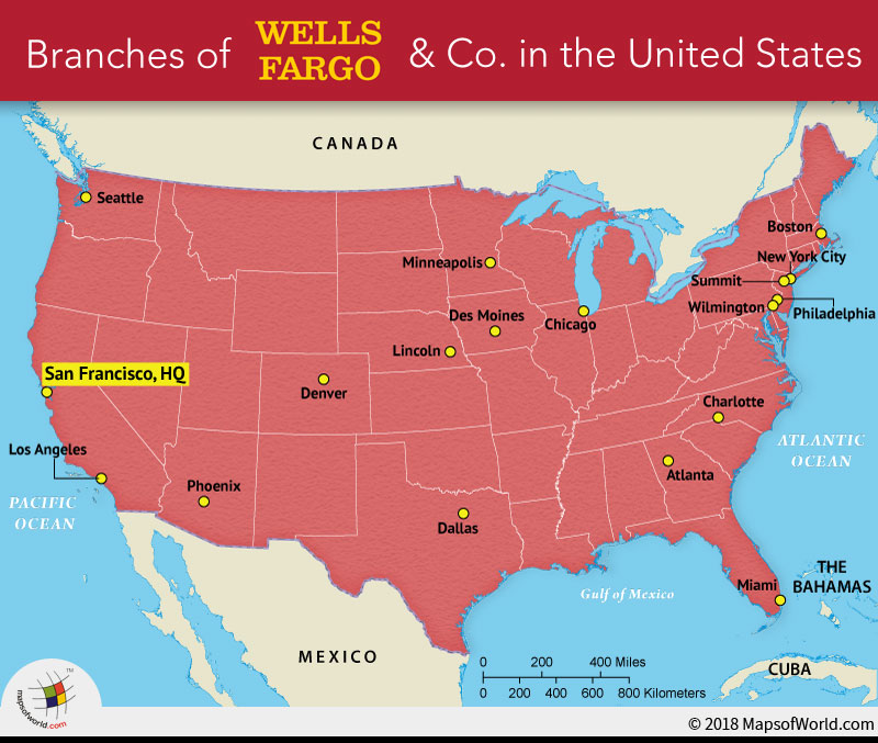 US Map depicting branches of Wells Fargo and Co.