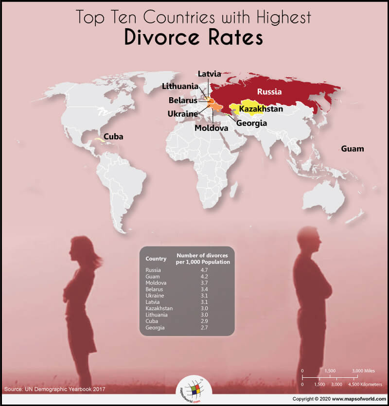 World Map Highlighting the Top 10 Countries with the Highest Divorce Rates