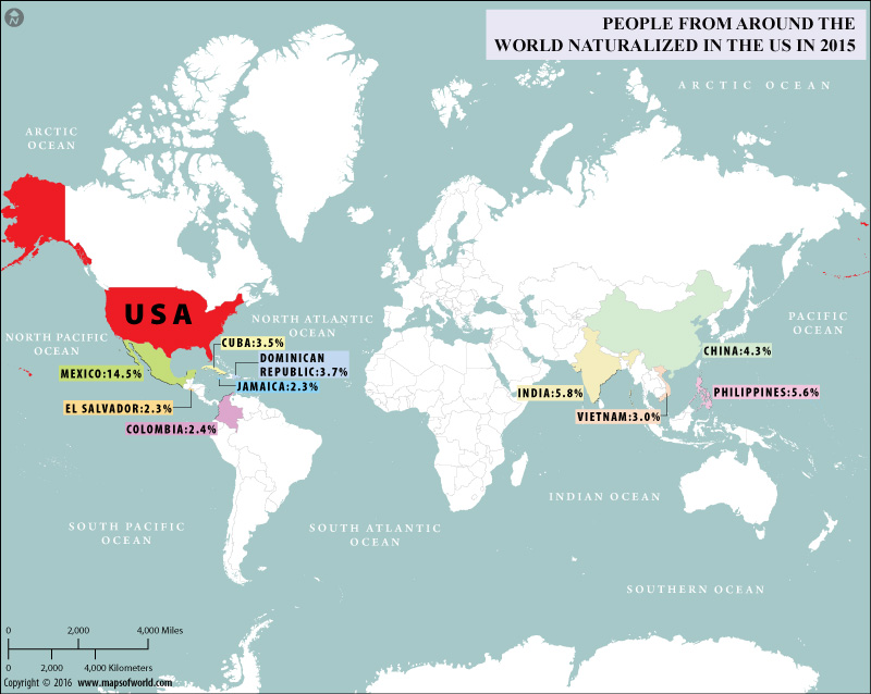 World map depicting people naturalized in US
