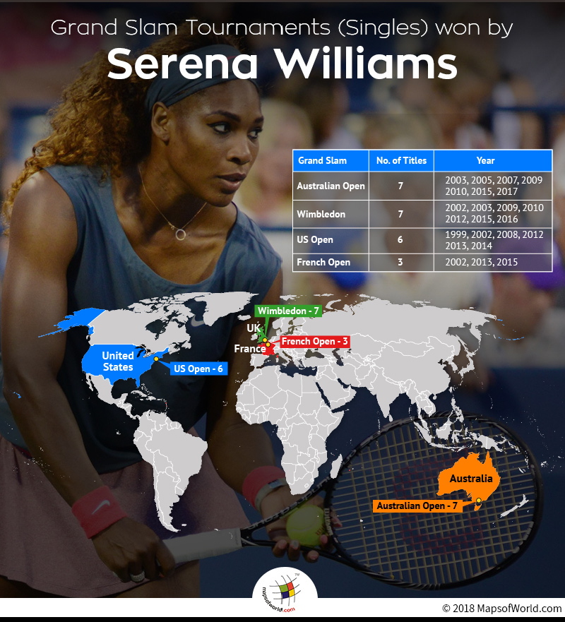 World map depicting Grand Slam (Singles) wins of Serena Williams