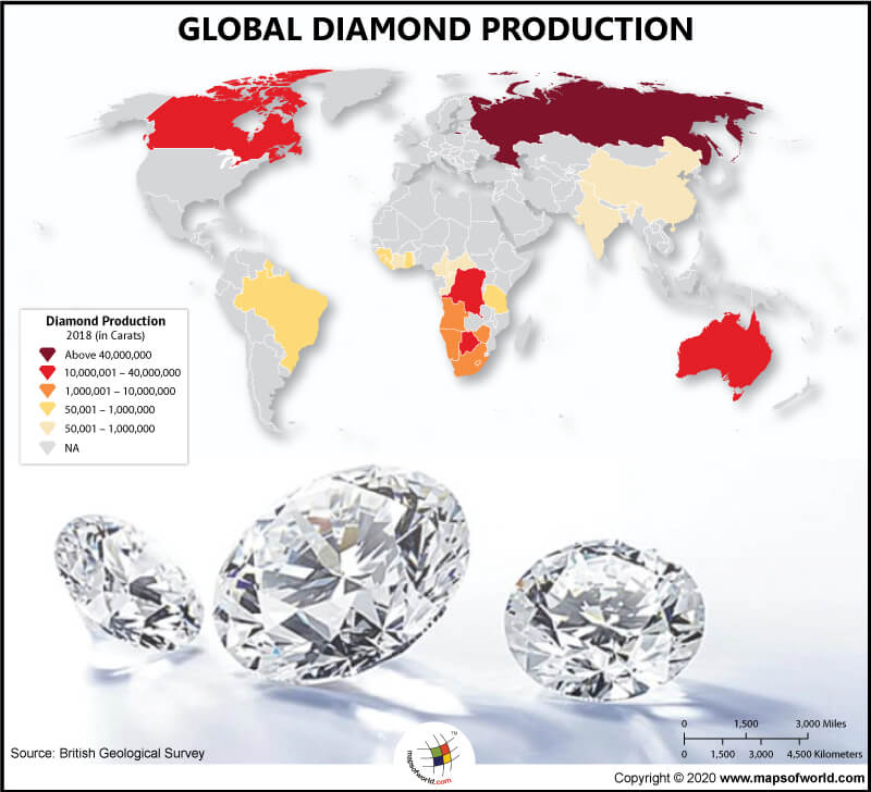 World Map Highlighting Countries with the Highest Diamond Production