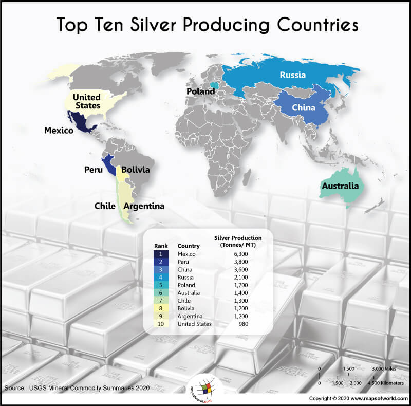 World Map Highlighting the Top 10 Silver Producing Countries