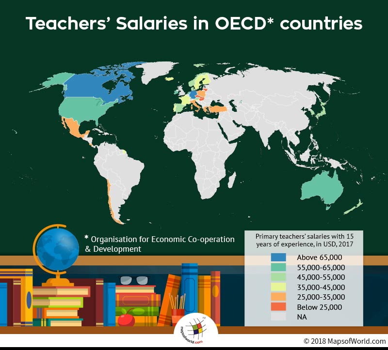 World map depicting average salaries of teachers