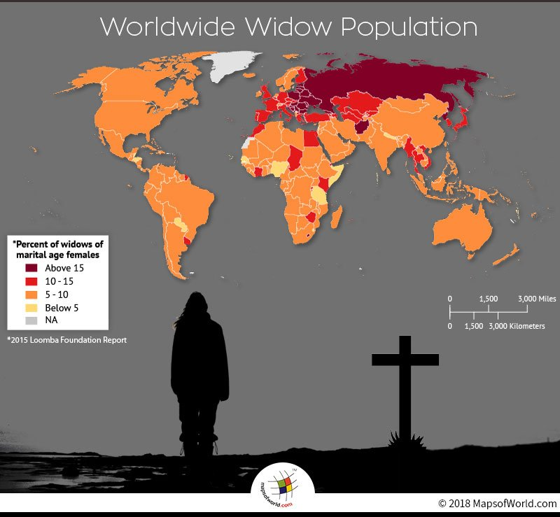 World map depicting Widow population