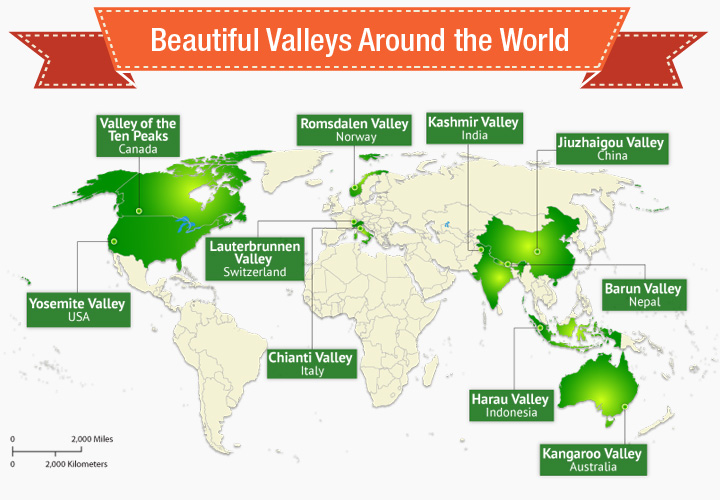 World map depicting most beautiful valleys