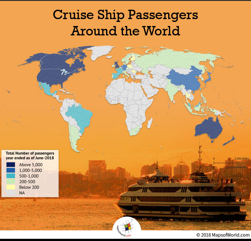 World map depicting highest number of cruise passengers
