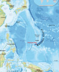 Mariana Trench on World Map