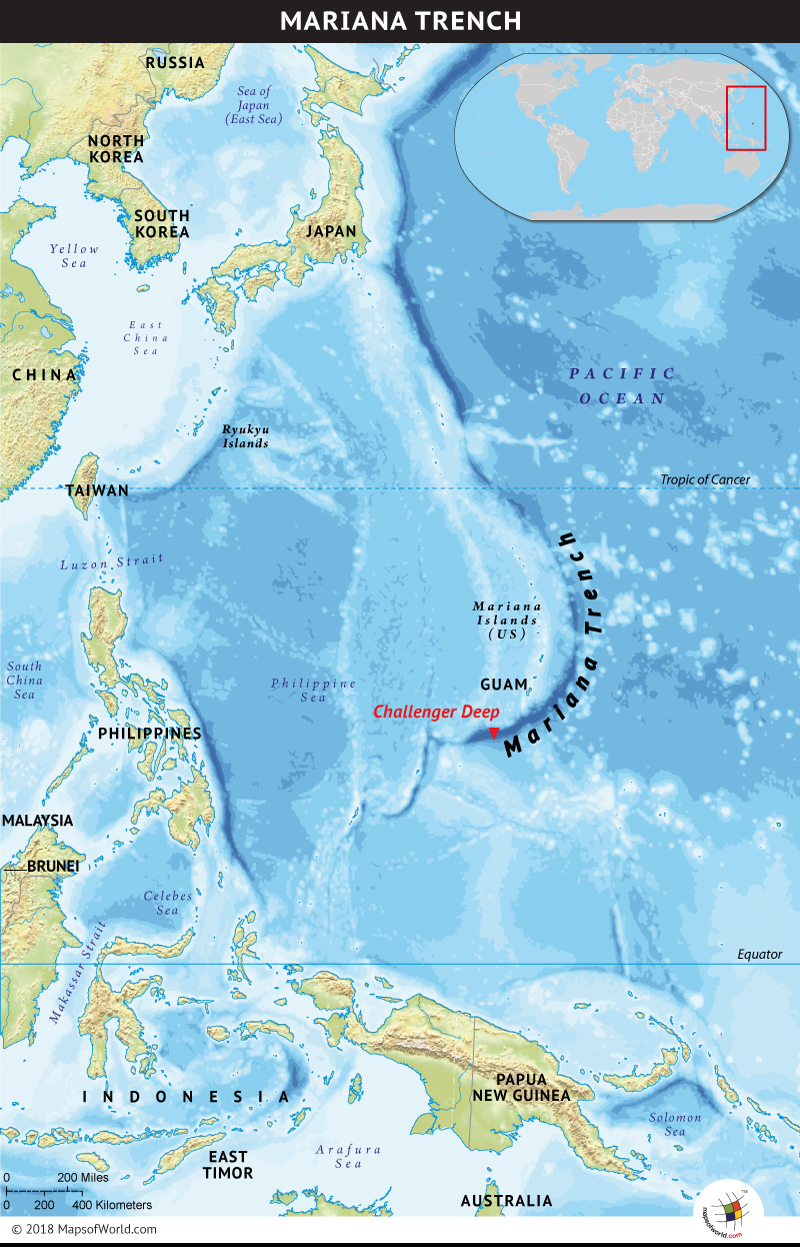 Map showing the location of Mariana Trench