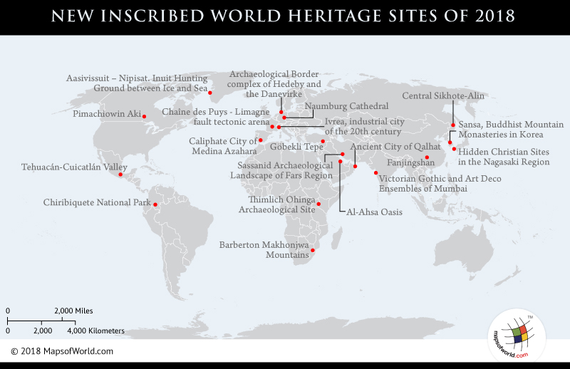 World map showing New World Heritage Sites
