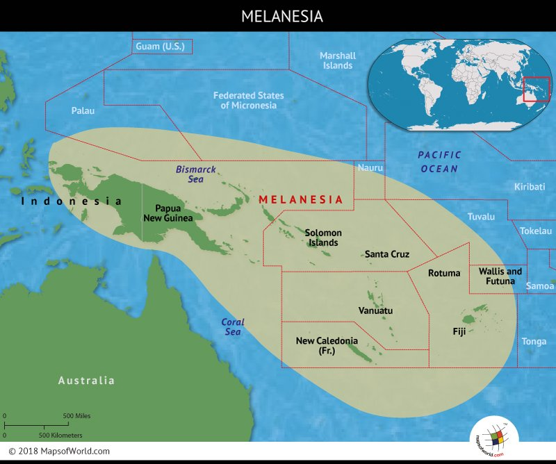 Melanesia comprises 2,000 islands
