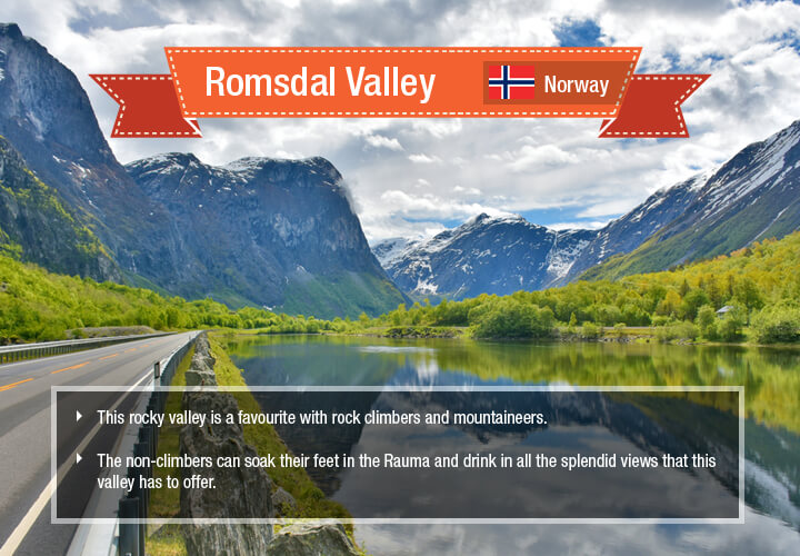 Tall, towering mountains on both sides and the Rauma River cutting through a deep gorge.