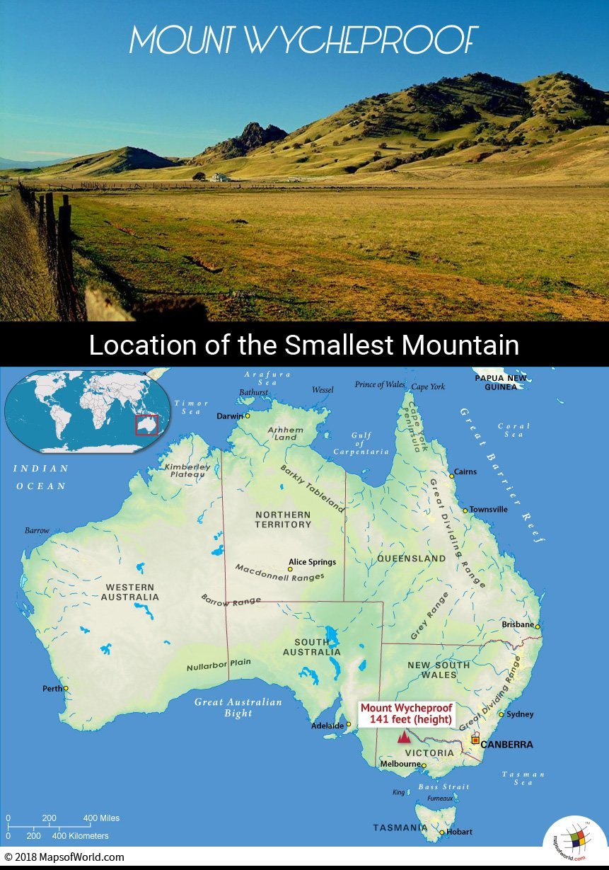 Map depicting smallest mountain on earth