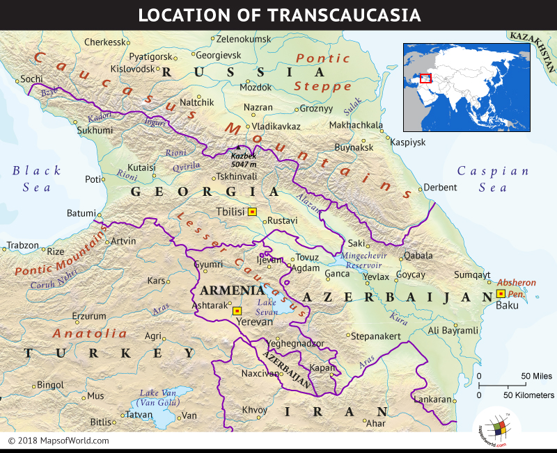 Map depicting the region of Transcaucasia