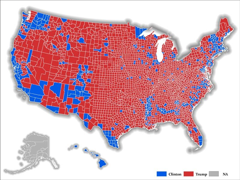 Map depicting regions where Trump dominates
