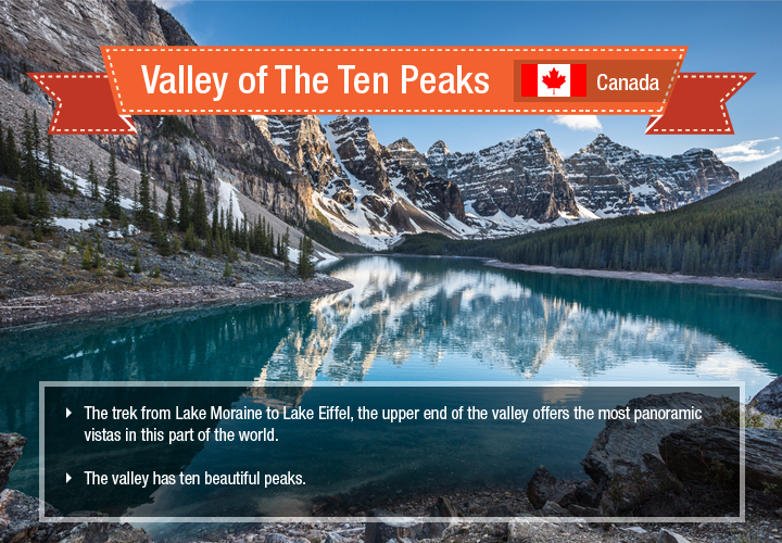 Reflection of the Ten Peaks in the waters of Moraine Lake in the Valley is magnificent