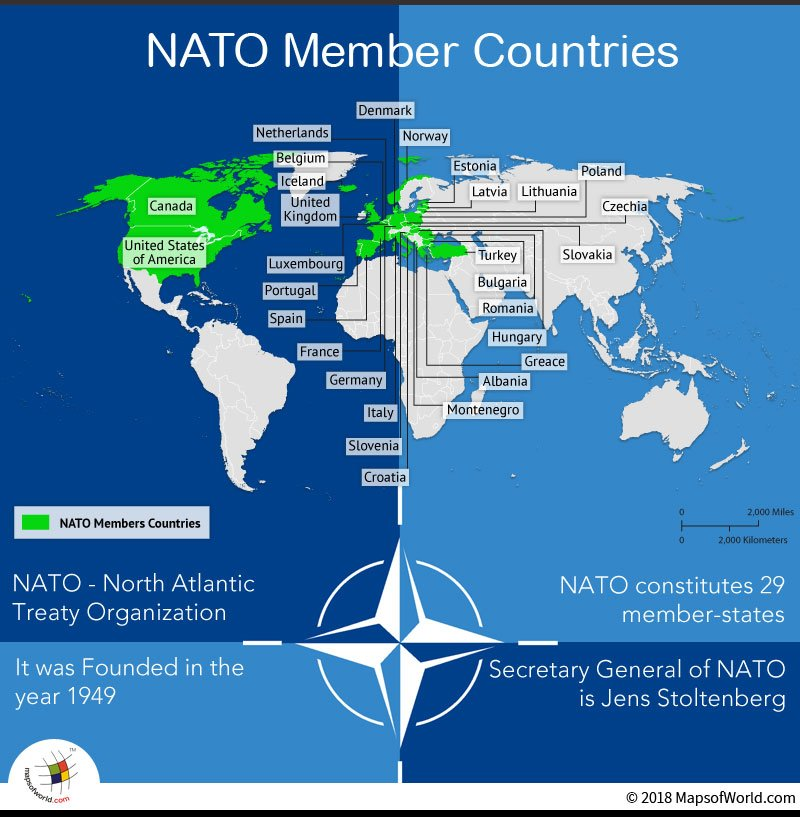 World Map depicting NATO members