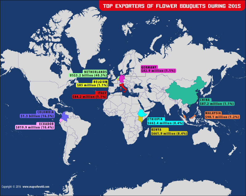 World map depicting top Flower bouquet exporters