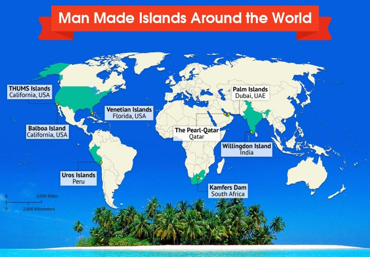 Here is a map depicting some of the most famous man-made islands