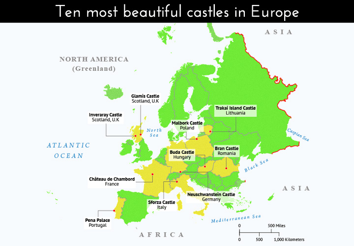 Map depicts locations of beautiful castles