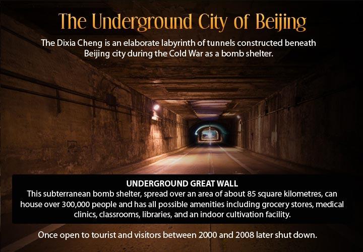Infographic describing the underground city of Beijing