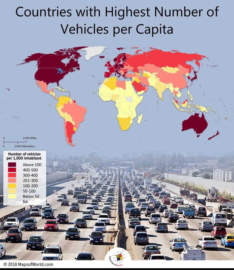 World map depicting number of vehicles per thousand inhabitants