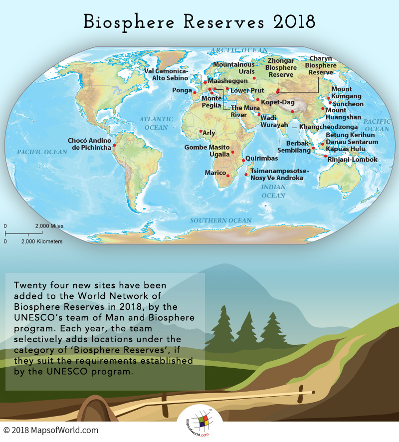World map depicting biosphere reserves added in year 2018