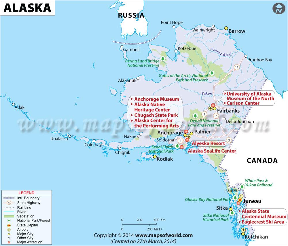 Map of Alaska - Answers