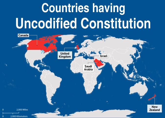 World Map Highlighting Countries with Uncodified Constitution