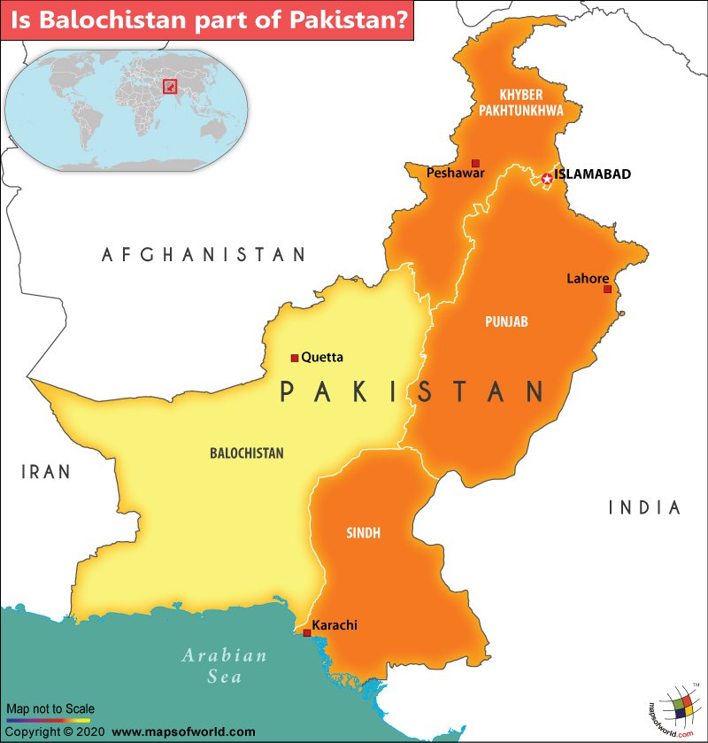 Map of Pakistan with Balochistan