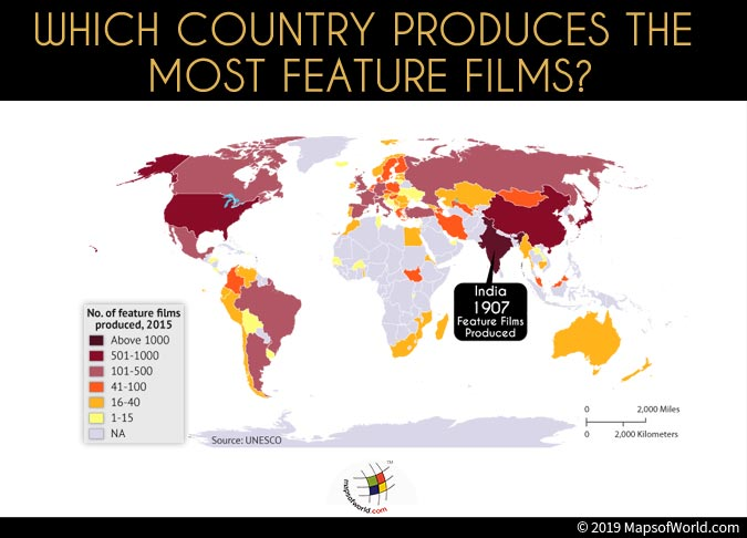World Map Depicting Countries Who have Prodcuced Feature Films
