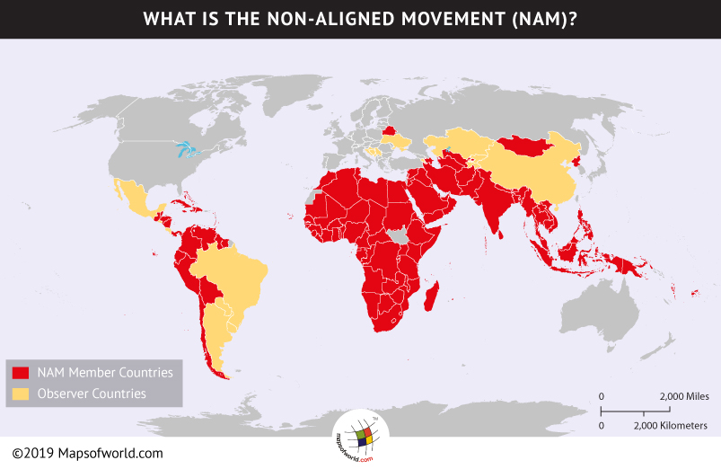 Map Showing Member Countries of Non-Aligned Movement